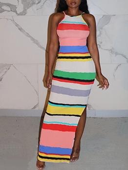 Colorful Striped Split Sleeveless Maxi Dress