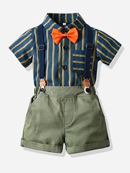 Boys Short Sleeve Shirt With Suspender Shorts