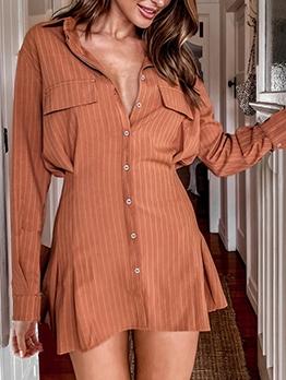 Business Button Down Long Sleeve Shirt Dress