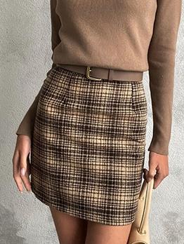 Euro Plaid Woolen Women Pencil Skirt