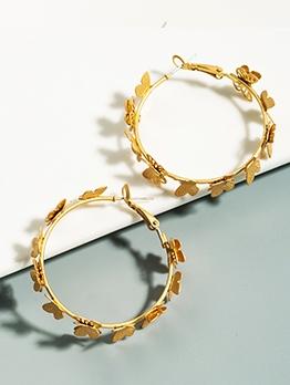 Golden Butterfly Elegant Round Earring Design