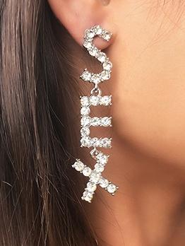 Fashion Letter She Rhinestone Lady Long Earrings