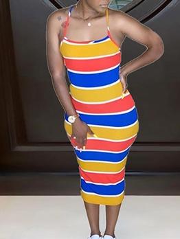 Sexy Crisscross Striped Sleeveless Midi Dress