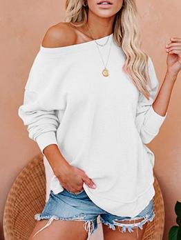 Solid Color Long Sleeve Casual Crewneck Sweatshirt
