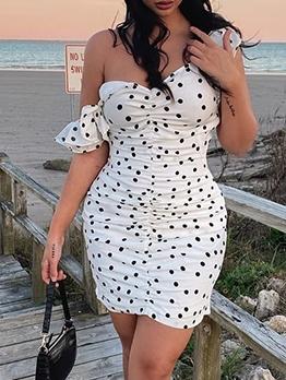 Polka Dot V Neck Sleeveless Dress