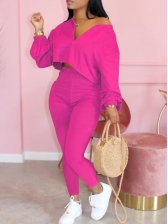 Pure Color Zip Up High Waist 2 Piece Outfits