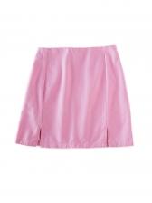 Split Hem Back Zipper Pure Color Short Skirt