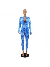 Front Zipper Tie Dye Long Sleeve Skinny Jumpsuit