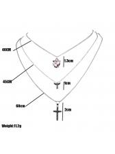Thin Chain Cross Rhinestone Pendant Women Necklace