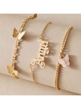 Temperament Letter Angle Butterfly Pendant Layered Ankle Accessory