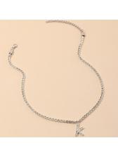 Easy Matching Full Rhinestone Single Letter Pendant Necklace