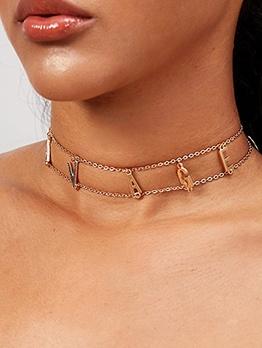 Hot Sale Letter Pendant Women Short Necklace