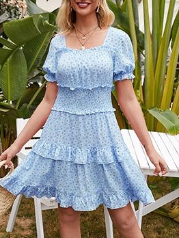 Square Neck Elastic Short Sleeve Floral Dress