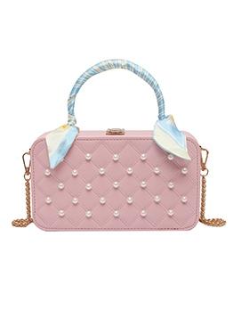Faux Pearl Silk Scarf Handle Chain Crossbody Bags