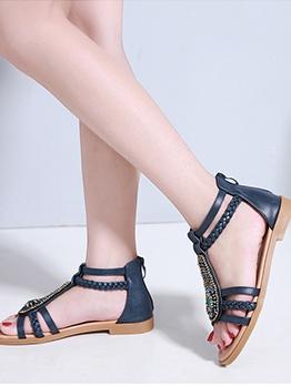 Bohemian Solid Rhinestone Womens Flat Sandals