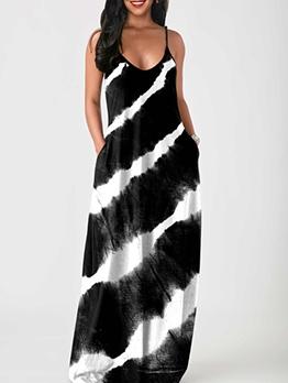 Gradient Color Print Sleeveless Plus Size Maxi Dresses