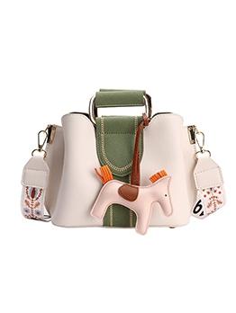 Horse Pendant Stitching Color Women Shoulder Bag