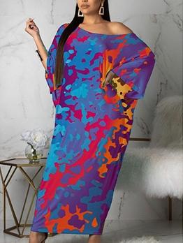 Bat Sleeve Camouflage Print Plus Size Maxi Dresses