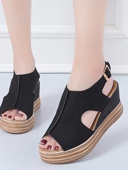 Peep Toe Solid Wedge Sandals
