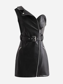Fashion One Shoulder Black Pu Sleeveless Dress