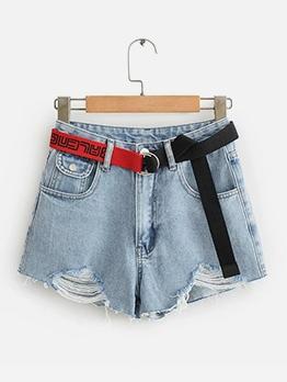 Summer High Waist Ripped Short Jeans For Women