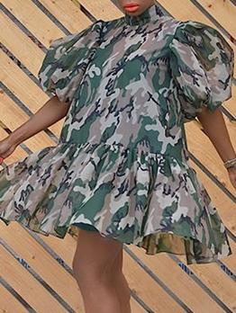 Loose Ruffled Hem Camouflage Puff Sleeve Ladies Dress