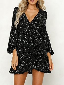 V Collar Black Long Sleeve Dress Casual
