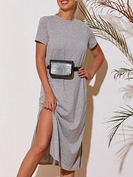 Euro Loose Solid Short Sleeve Midi Dress