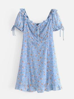 Summer Floral Puff Short Sleeve Dress