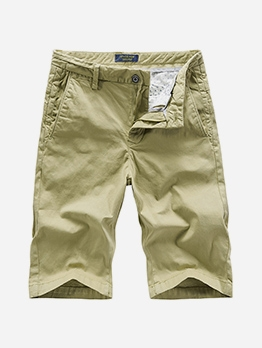 Vintage Pure Color Short Pants For Men