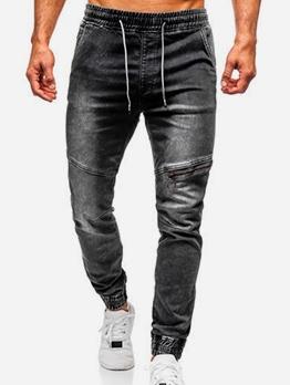 Casual Knee Zipper Drawstring Mens Jeans