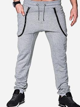 Solid Zipper Patchwork Drawstring Jogger Pants