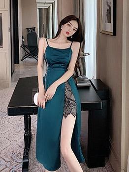 Satin Lace Patchwork High Slit Midi Dress