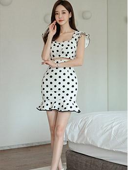 Mermaid Design Polka Dots Cutout Summer Dresses