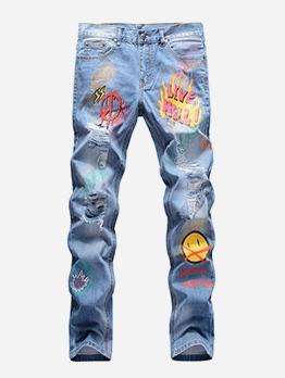 Streetwear Hip-Hop Printed Straight Mens Jeans