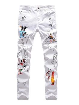 Fashion Animal Print Straight White Jean