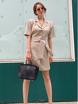 OL Style Solid Notch Collar Blazer Dress