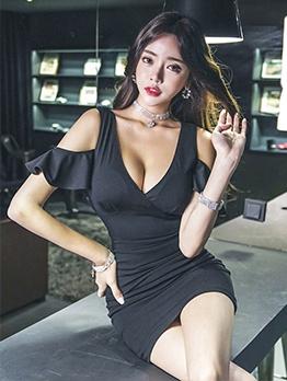 Low-Cut Deep v Black Bodycon Dress
