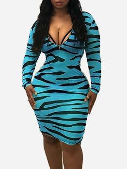 Fashion Sexy Zebra Stripe Skinny Dress