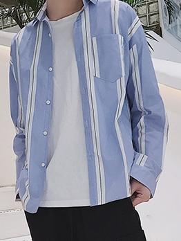 Casual Button Down Long Sleeve Striped Shirt