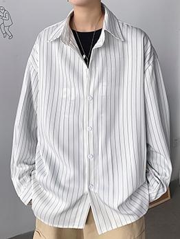 Casual Turndown Collar Long Sleeve Striped Shirt