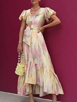 Court Style Lantern Sleeve Tie Dye Maxi Dress