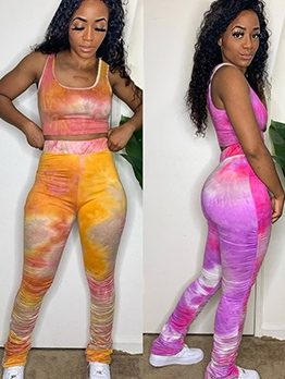 Tie Dye High Waist Crop Top With Stacked Pants