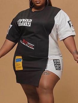 Contrast Color Front Zipper Plus Size Dress
