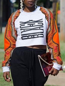 Print Long Sleeve Crop Sweatshirt For Women