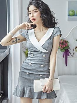Double-Breasted Ruffled Short Sleeve Dress