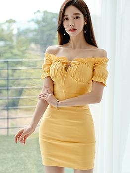 Elegant Yellow Mini Off Shoulder Dress