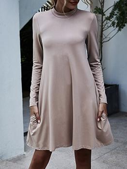 Stand Neck Solid Large Hem Long Sleeve Dress