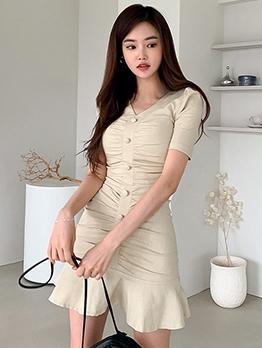 Slim Fit Single-Breasted Ruffled Short Sleeve Dress