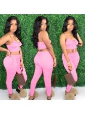 Drawstring Pink Crop Top And Pants Set